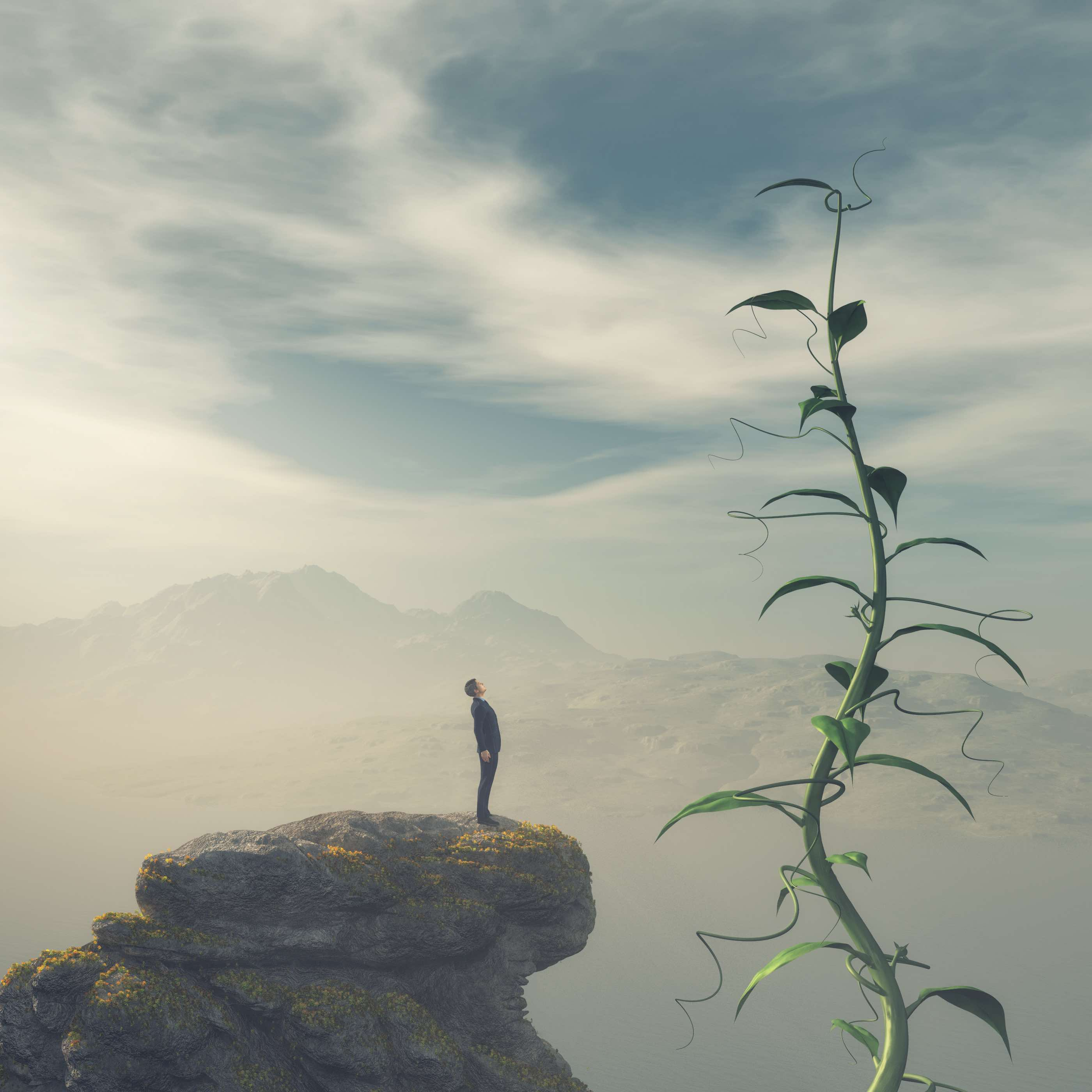 Man standing on the edge of a cliff admiring a big beanstalk. This is a 3d render illustration