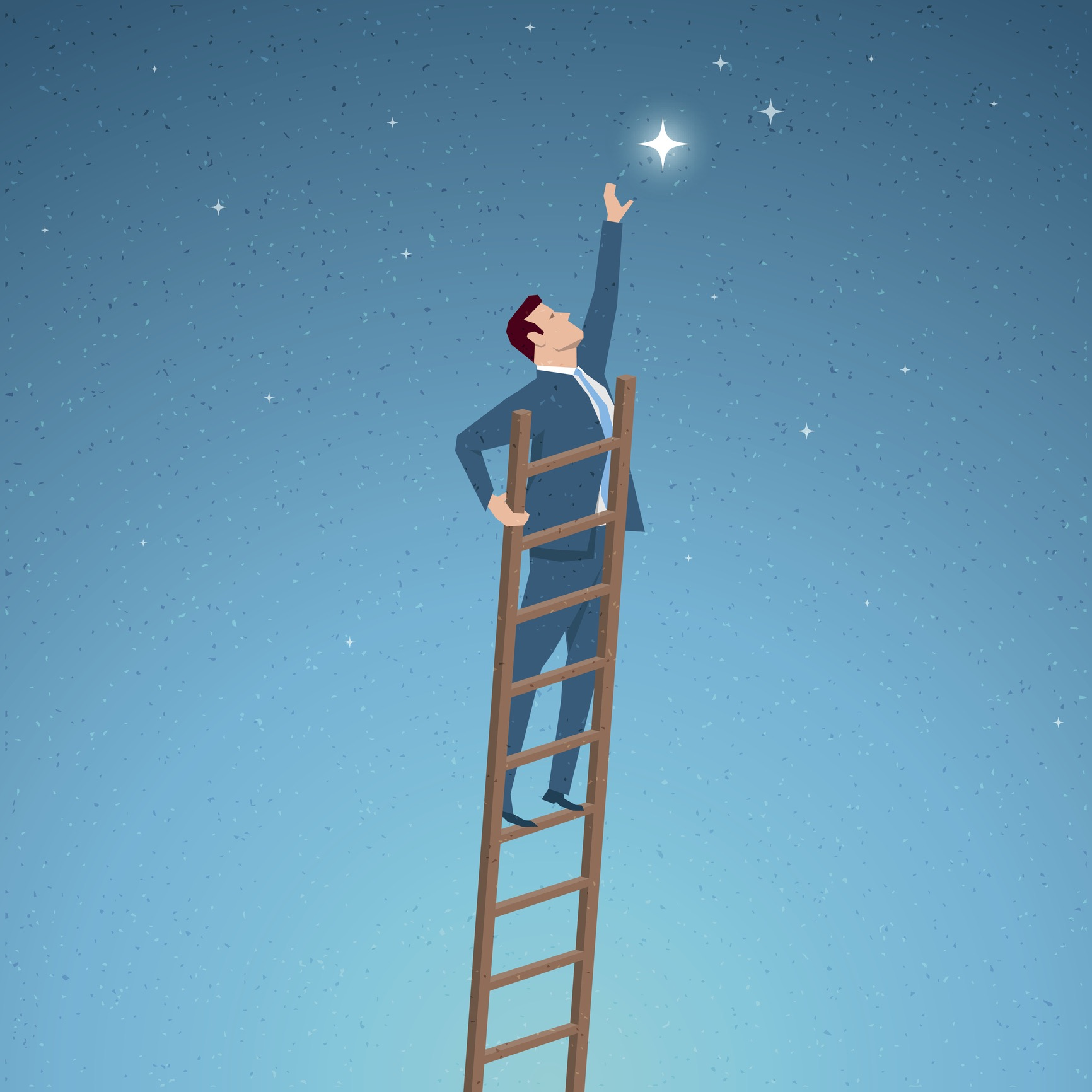 Business man on a ladder reaching for a shining star