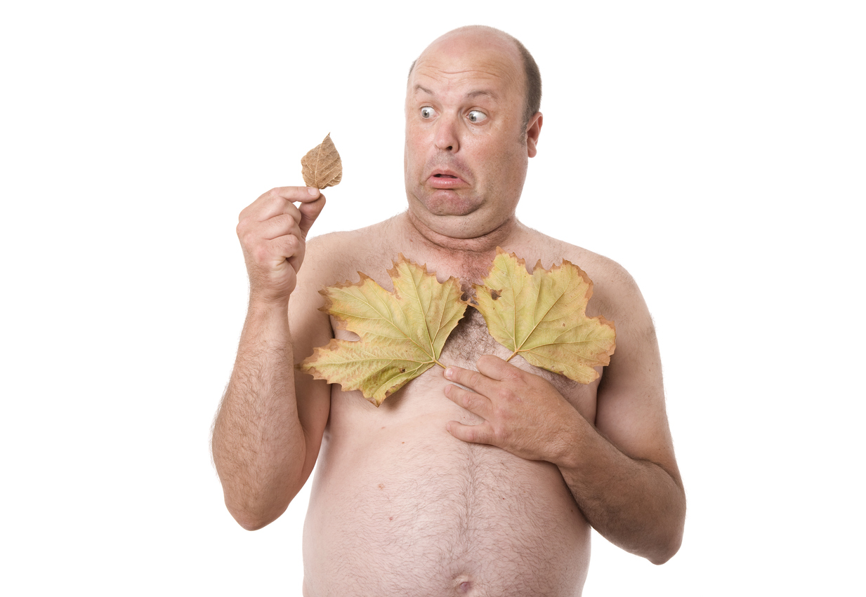 A nude man worried about the size of remaining leaf.