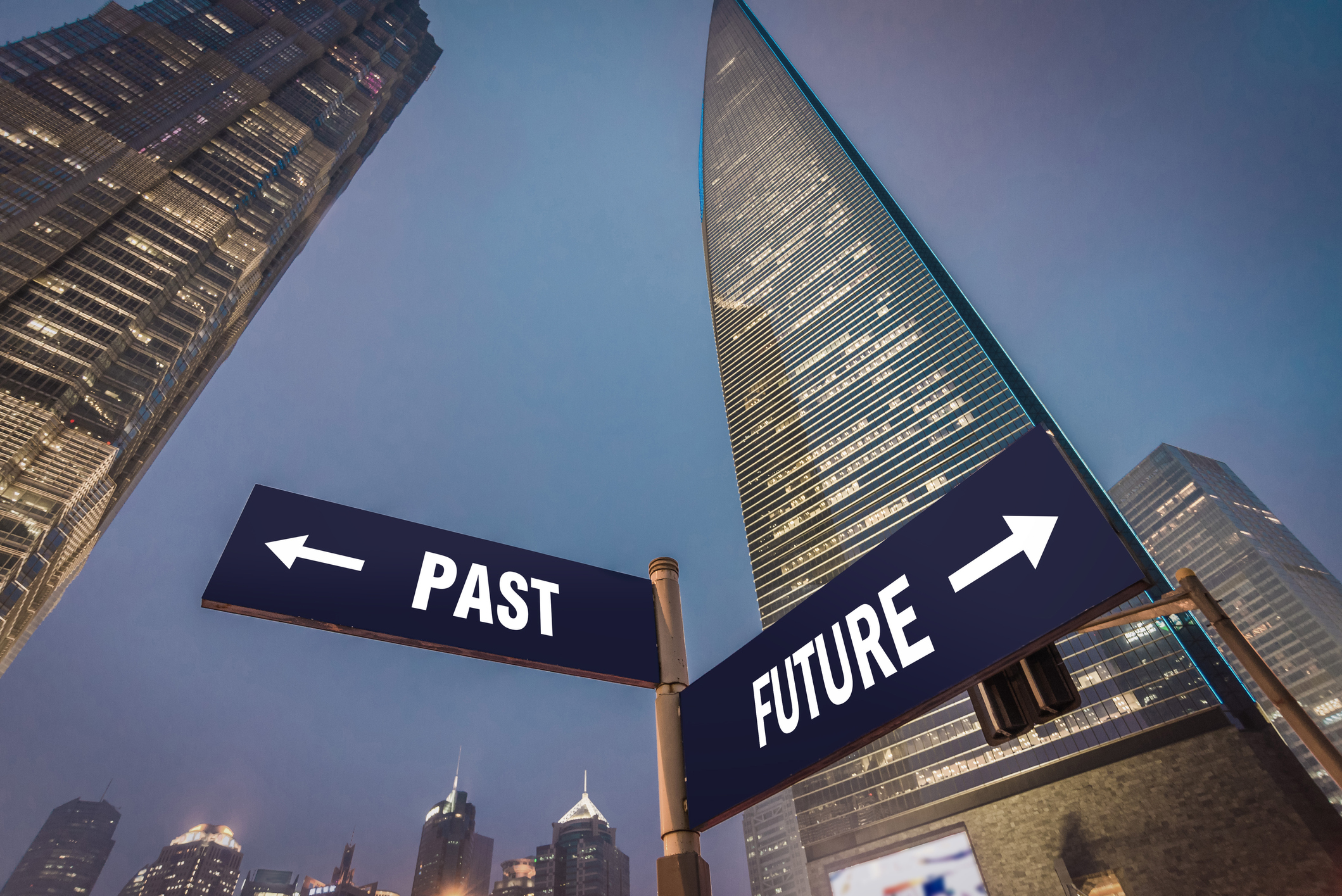 Future and Past Street Road Guide in Shanghai Lujiazui Financial District